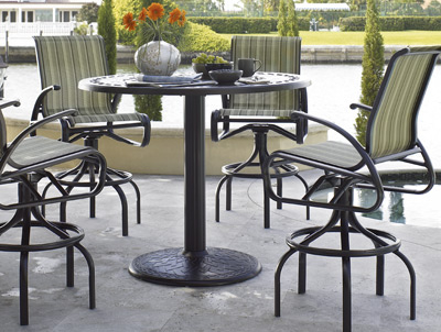 Telescope Cape May Sling Bar Stools and Table Patio Furniture
