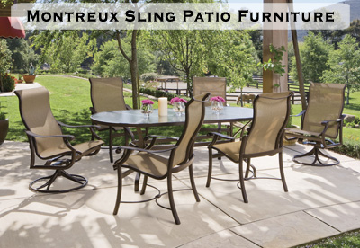 Montreux Sling Patio Dining Set with Oval Table