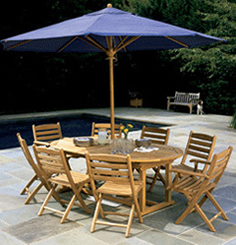 Kingsley Bate Teak Patio Dining Furniture With Patio Umbrella Essex Oval  Extension Table With Nantucket Chairs (left) Essex Oval Extension Table  With ...