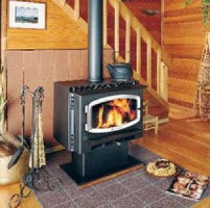 Wood Burning Stove Avalon Olympic with Aluminum Door and Pedestal Bottom