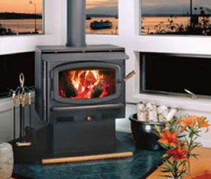 Wood Burning Stove Avalon Rainier with Black Door and Pedestal Bottom