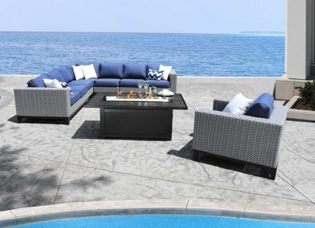 Cabana Coast Tribeca Deep Seating Sectional Grey Wicker
