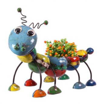 Camilla the Caterpillar – Fun Planter Metal Sculpture