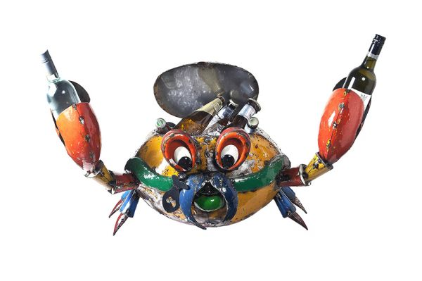 Conrad the Crab Cooler Metal Sculpture
