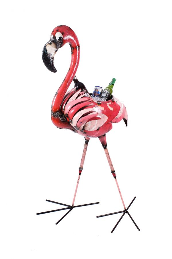 Florence the Flamingo Beverage Tub Metal Sculpture