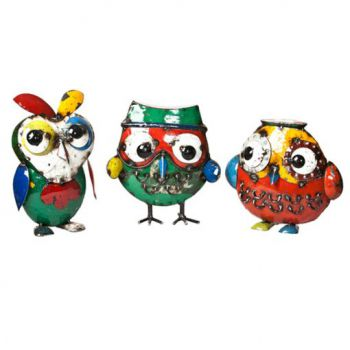 Owl Trio (Set of 3) Metal Sculptures