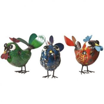 Pixie Chicks (Set of 3) Metal Sculptures