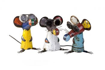 Three Blind Mice Set Metal Sculpture