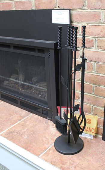 Fireplace Tool Set 4 Piece Black Leaf