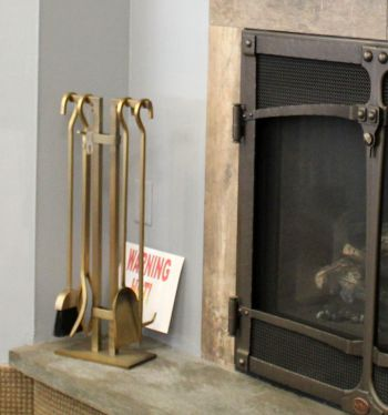 Fireplace Tool Set 4 Piece Brass