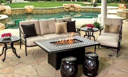 Gensun Grand Terrace Rectangle Gas Fire Pit