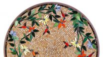 KNF NEILLE OLSON MOSAIC OUTDOOR TABLE - CARMEL HUMMINGBIRD