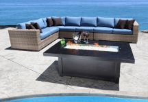 Cabana Coast Deep Seating Louvre Collection - Blue Cushions