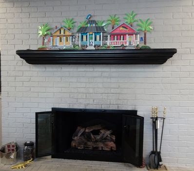 Wall Accents Metal Houses Mantel Wall Sculpture